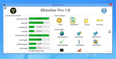 8Smoker Pro 1.0 – настройка Windows 8