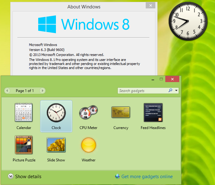 Гаджет Календарь Windows 7