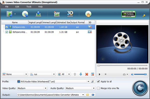 Создание DVD-дисков в Leawo Video Converter Ultimate