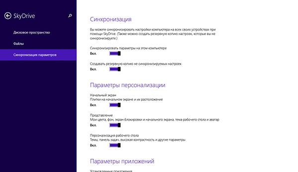 SkyDrive в Windows 8.1
