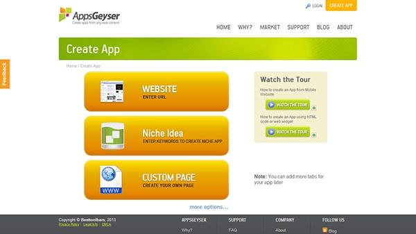 сервис для создания приложений - AppsGeyser