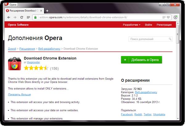 Расширения Chrome для Opera