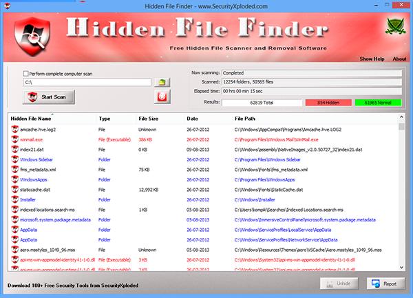 CHidden File Finder. Программа для поиска скрытых файлов и папок