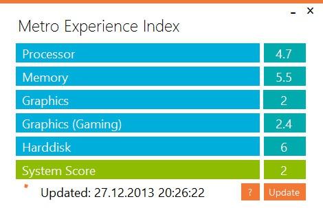 узнать индекс производительности Windows 8.1