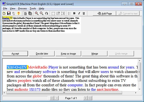 распознавание текста SimpleOCR