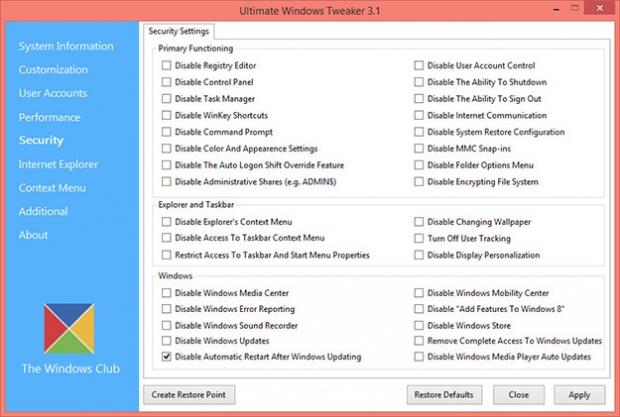 Ultimate Windows Tweaker. Твикер для настройки Windows 8 и 8.1