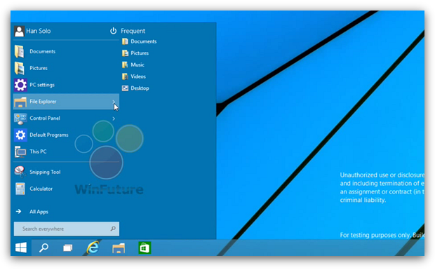 Windows 9: меню «Пуск»