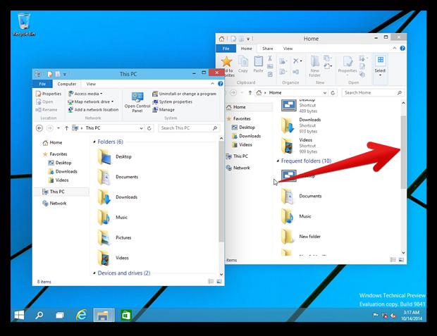 В Windows 10 доступна прокрутка неактивных окон