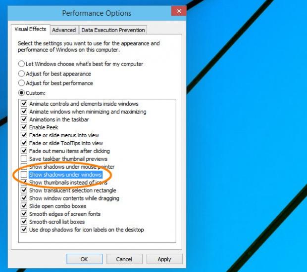 Как в Windows 10 отключить эффект тени окон