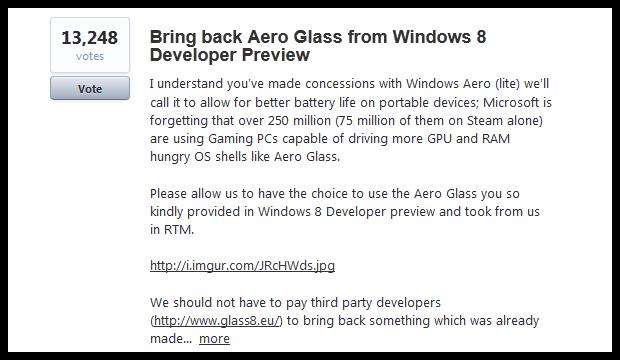 Microsoft: Aero вернётся в Windows 10, если вы проголосуете за него