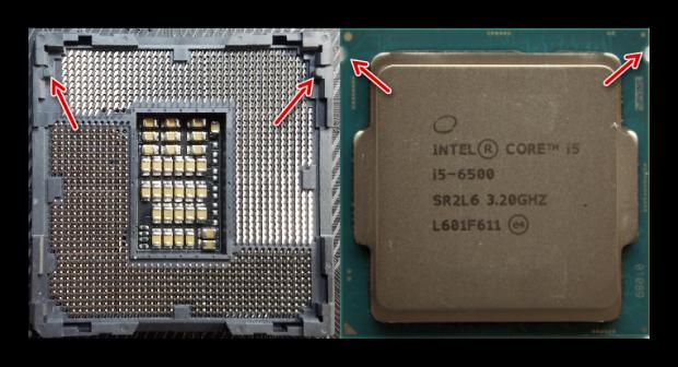 Определение правильного положения для установки процессора Intel на материнскую плату