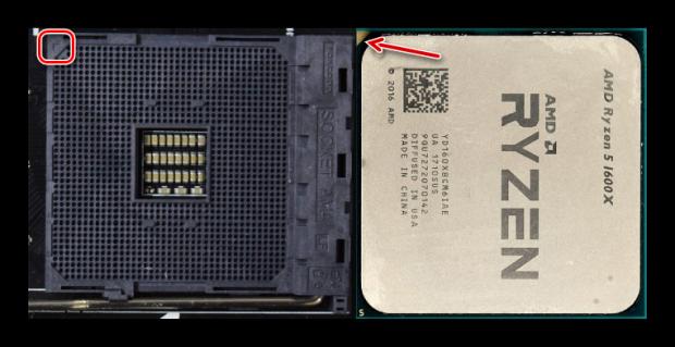 Определение правильного положения для установки процессора AMD на материнскую плату