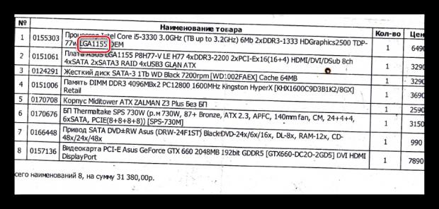 Информация о сокете процессора с товарного чека