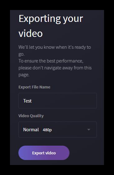Параметры экспорта видео на Clipchamp
