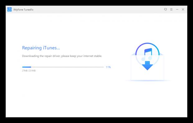 Процесс исправления ошибок iTunes в программе iMyFone TunesFix